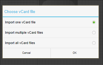 Import or export contacts to storage